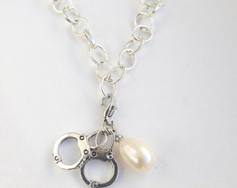 Handcuff charm bracelet with pearl for Hens Party