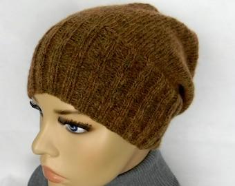 BEANIE * SLOUCH * Cap * unisex * 70% BABY Alpaca very easily * Brown melange * handmade