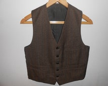 Vintage Wool Waistcoat. Size Small. Brown. Stripes