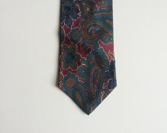 Vintage Yves Saint Laurent Tie/ Floral/ Pure Silk