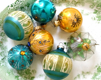 vintage glass christmas ornaments blue gold ornate ornaments oscar the grouch sesame street