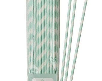 Mint Straws Set of 30 / Paper Straws / Party Straws / Paper Straws