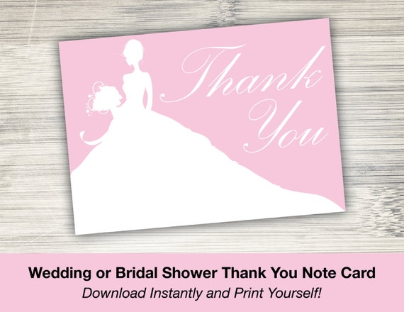 Pink Wedding Dress Bridal Shower Or Wedding Thank You Note