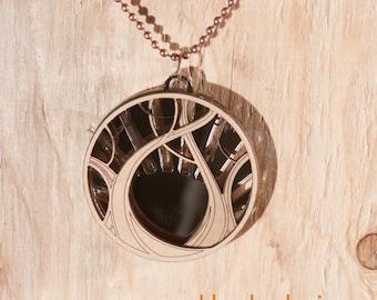 """2"""" Tree and Bronze Mirror Pendant"""