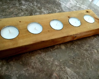 Rustic Handcrafted Wood Votive/ Tea Light Candle Holder