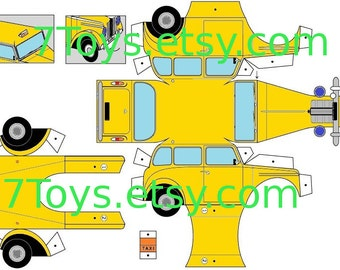 Paper toy TAXI for self-assembly. Printable A4 PDF, JPEG. Instant Download.