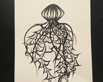Lined Jellyfish- Black and White PRINT