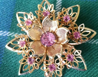 Brooch Antique Gold and Pink, Vintage