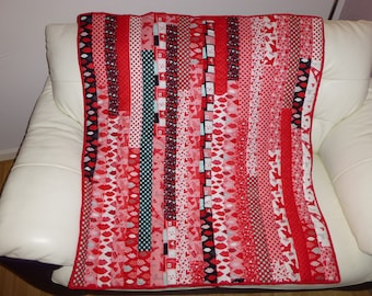 Handmade Quilt perfect for Valentines Day made from Moda Fabric Jelly Rolls