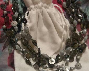 Grey multistrand necklace
