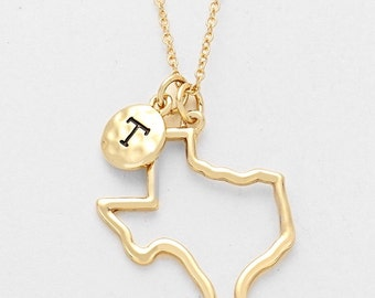 Gold Hammered Texas Necklace