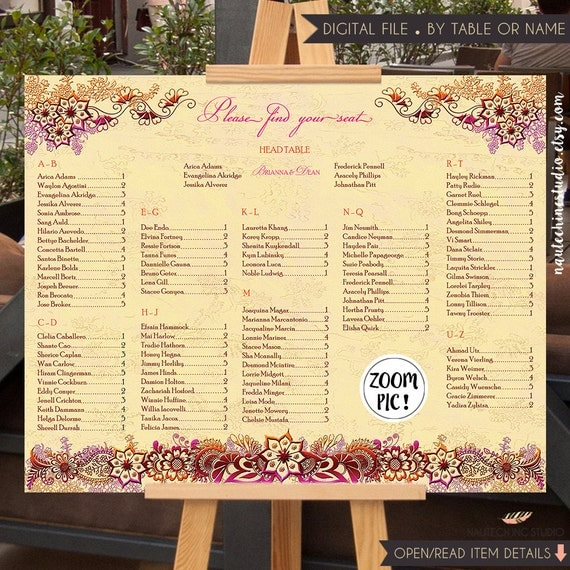 Printable Seating Chart For Wedding Reception: Printable Seating Chart Indian Wedding Sign By