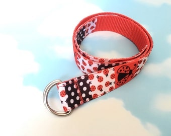 Childs Belt - Girls Belt - Boys Belt - Toddler Belt - Ladybird Belt - Red Belt - Ribbon Belt - Ladybug - Age 1-3