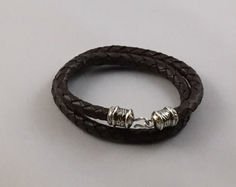 Men's (7mm thick)Brown Double Wrap Braided Leather Cord Bracelet