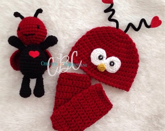 Made to Order, Baby Crochet Love Bug Hat, Valentines Day