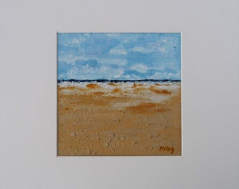 Original Acrylic Painting, Landscape, Beach, Coastal Seascape, Small Blue Textured Fine Art, Cloudy Sky, Summertime, Beach Decor, Low Tide Art