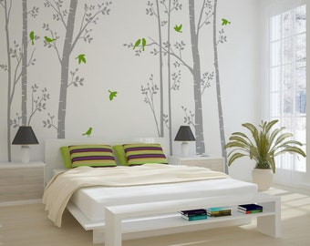 Leafy Trees Grey Wall Sticker