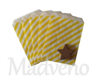 Lot of 10 bags yellow striped paper