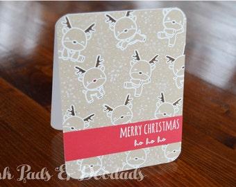 Dancing, Reindeer, Merry Christmas, Cute, Hand Stamped, Handmade, Greeting, Card