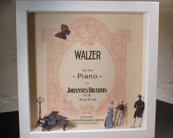BRAHMS - 3D Shadow Box Art using upcycled vintage sheet music