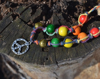 Rainbow Hippie Peace Hemp Necklace