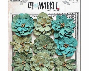49 & Market Rustic Green Blooms - 49 And Market Rustic Green Blooms - Rustic Green Blooms - Scrapbook Flowers - Embellishment Flowers