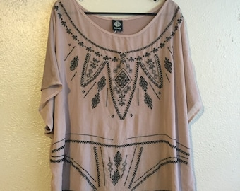 Tan sheer dress/shirt with embroidered decal