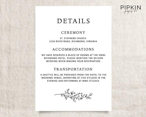 Wedding details template printable wedding template wedding details template printable wedding template digital download for word fully customizable free rsvp template stopboris Image collections