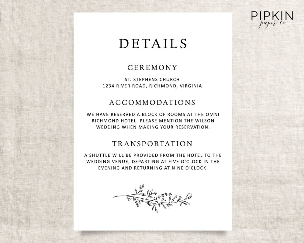 Wedding Details Template Printable Wedding Template