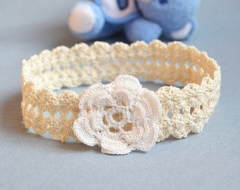 Baby Girl Headband, New Born Macrame Head Band