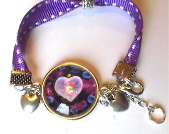 Bracelet heart take purple cabochon