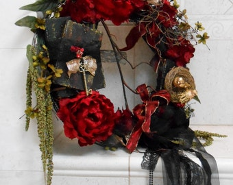 Gothic Wreath / Red And Black Wreath / Victorian Wreath / Elegant Wreath / Home Decor / Home And Living / Vintage Book Wreath / Peony Wreath