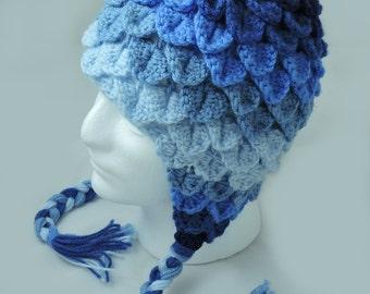 Reverse Blue Ombre Crochet Crocodile Stitch Hat