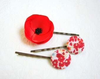Poppy hair pins, Floral hair pins, Red poppy hair set, Button hair pins, Flower hair pins, Poppy barrettes, Pinup Girl hair accessories