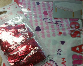 Valentines Day Table Cloth and Confetti