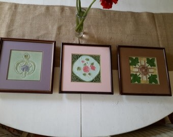 Three Framed Vintage Art Noveau Tiles