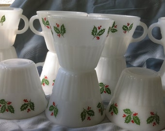 Vintage Crisa Mexican glasses with holly pattern 12 ct