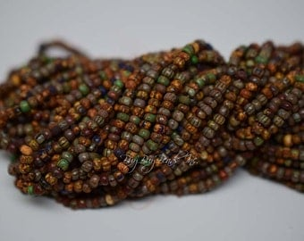 6/0 Aged Seed Beads, Opaque Heavy Picasso Striped Etched Mix, Czech Glass Seed Beads, Three 6inch Strands (Approx 145-160 Beads)