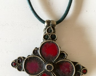 Beautiful shaped antique silver flower and parts of Afghanistan tribe from stained glass pendant