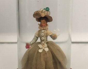 Elaine Cannon miniature figure of a lady under a glass dome
