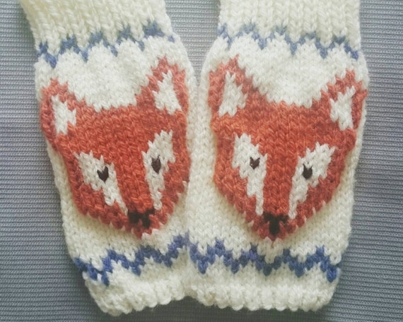 Knitting Pattern For Fox Mittens : Knitted Fingerless Fox Gloves Gloves Mittens Wrist by ...