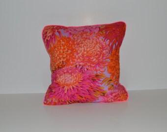 Cushion cover - pink & orange flowers