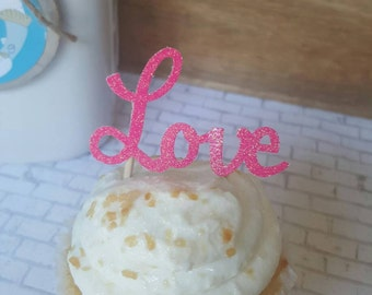 Love Cupcake toppers, Set of 12, Bridal shower, engagement party, Bachelorette party, hot pink bachelorette decor