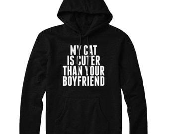 My Cat Is Cooler HOODIE Funny Slogan Mens Womens Hoody Top STP29