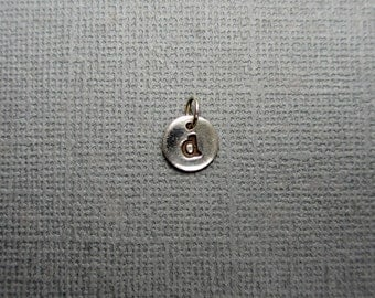 d Silver Initial Charm Stamped Fine Silver Pendant Personalized Charm PMC Tiny