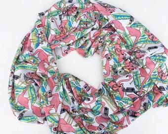 Silky Flamingo multi loop infinity scarf