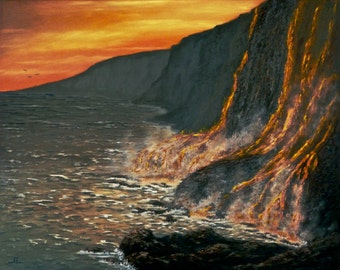 Kilauea Volcano, Hawaii. Oil Painting on Stretched Canvas with Painted Sides. Hawaii Artist. Free shipping.  Aloha