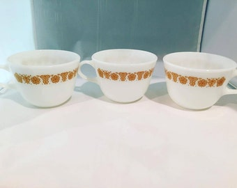 Vintage Pyrex Cups and Corelle Butterfly Gold Bowl