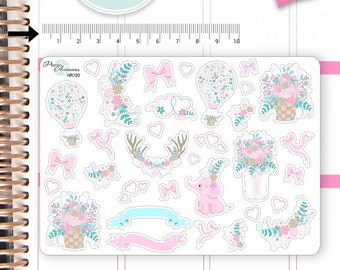 Flower Stickers Spring Stickers Air Ballon Stickers Planner Stickers Erin Condren Functional Stickers Decorative Stickers NR720