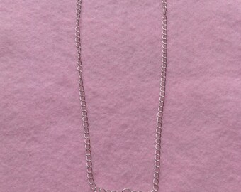 Silver Chain Pink, White & Cream Bead Necklace.